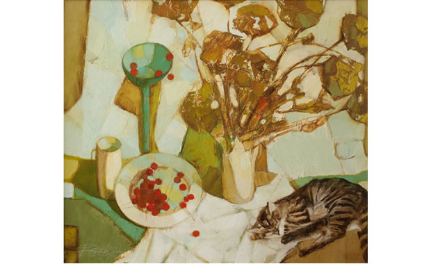 Still life with cat